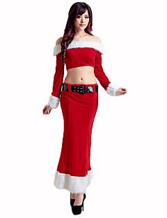 Kerstmanpakken Festival/Feestdagen Halloween Kostuums Rood / Wit Effen Top / Rok / Riem Kerstmis Textiel Binnenwerk