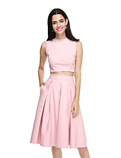 2017 לנטינג bride® שמלת השושבינה באורך ברך כותנה אלגנטית - תכשיט א-קו עם כיסים / קפלים