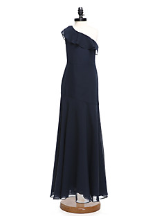 Lanting Bride® Floor-length Chiffon Junior Bridesmaid Dress A-line One Shoulder with Ruffles
