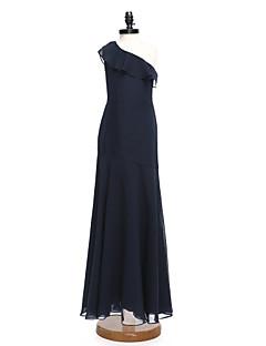 2017 לנטינג שושבינה זוטר שיפון באורך הרצפה bride® להלביש אונליין כתף אחת עם קפלים