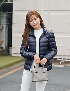 Damen Daunen Mantel,Kurz Einfach Lässig/Alltäglich Solide-Polyester Weiße Entendaunen Langarm Blau / Rot / Weiß / Schwarz / Grün / Lila