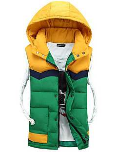 Men's Long Down Coat,Simple Casual/Daily Color Block-Others Without Filling Material Long Sleeve Red / Green / Yellow