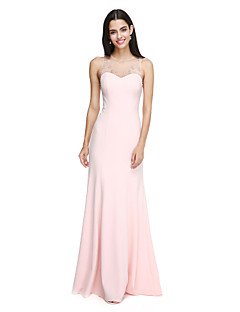 2017 Lanting Bride® Floor-length Chiffon Elegant Bridesmaid Dress - Jewel with Beading / Crystal Detailing