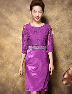 Damen Etuikleid Kleid-Ausgehen Anspruchsvoll Solide Rundhalsausschnitt Übers Knie ¾-Arm Lila Andere Sommer Hohe Hüfthöhe Unelastisch Dünn