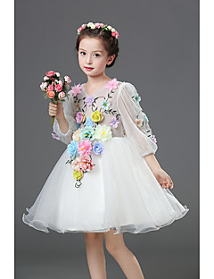 A-line Knee-length Flower Girl Dress - Chiffon Satin V-neck with Appliques Flower(s)