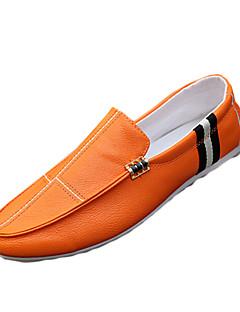 Herren-Loafers & Slip-Ons-Lässig-PU-Flacher Absatz-Komfort-Schwarz Weiß Orange