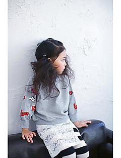 Girl's Casual/Daily Print Hoodie & SweatshirtCotton Spring / Fall White / Gray