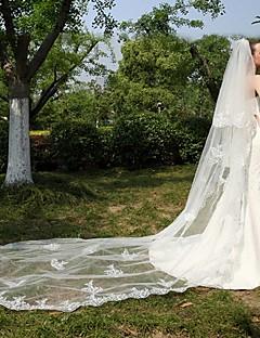 Свадебные вуали Два слоя Фата для венчания Кружевная кромка Тюль Кружево