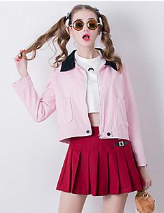 Damen Solide Einfach Ausgehen Jacke,Hemdkragen Herbst Langarm Rosa Baumwolle Mittel