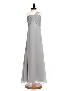 2017 Lanting bride® длиной до пола шифон младший платье невесты оболочкой / колонки одно плечо с Крисс крест / плетения кружева