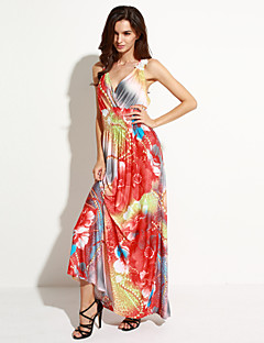 קיץ פוליאסטר / ספנדקס כתום ללא שרוולים מקסי צווארון V פרחוני בוהו חוף / מידות גדולות שמלה נשים