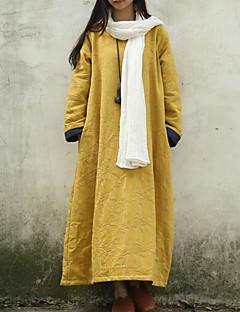 Kadın Günlük/Sade Çin Stili Salaş Elbise Solid,Uzun Kollu Yuvarlak Yaka Maksi Sarı Pamuklu Bahar / Sonbahar Normal Bel Esnemez Orta