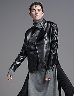 DL.FANG Women's Going out / Casual/Daily Street chic Leather JacketsSolid Stand Long Sleeve Fall / Winter Black PU Thick