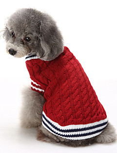 Cat Dog Sweater Dog Clothes Winter Color Block Casual/Daily Keep Warm Christmas Red Blue