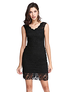 TS Couture Cocktail Party Prom Dress - Little Black Dress Sheath / Column V-neck Short / Mini Lace with Lace