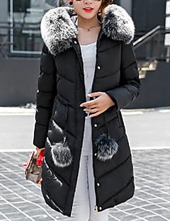 Langærmet Lang Vatteret Dame Frakke,Simpel Casual/hverdag Ensfarvet-Polyester Polyester Hætte Rosa / Grå
