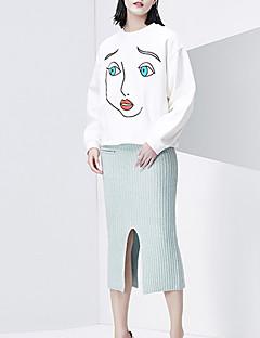 Damen Extraklein Röcke,Bodycon einfarbig Geschlitzt,Lässig/Alltäglich Einfach Hohe Hüfthöhe Midi Elastizität Baumwolle Unelastisch