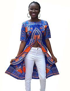 Feminino Camiseta Casual Vintage / Moda de Rua Primavera / Outono,Estampado Azul Poliéster Decote Redondo Manga Curta Média