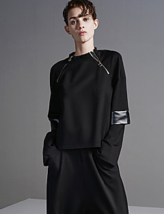 DL.FANG Women's Going out / Casual/Daily Simple Regular HoodiesSolid Black Round Neck Long Sleeve Fall / Winter Medium