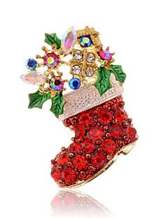 Damen Broschen Chrismas Modisch Luxus-Schmuck Diamantimitate Rot Schmuck Für Alltag Normal Weihnachts Geschenke