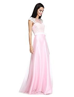 2017 Lanting bride® podlahy délka tyl / Saténové elegantní družička šaty - a-linie Bateau withappliques