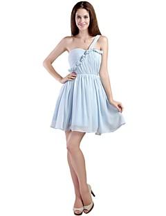 קצר \ מיני שיפון אלגנטי שמלה לשושבינה - גזרת A כתפיה אחת עם קפלים