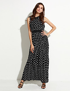 달콤한 곡선 여성의 해변 / 플러스 사이즈 보헤미안 스윙 드레스, 폴카 검은 색 폴리 에스테르 여름 라운드 넥 맥시 민소매 도트