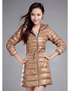 Damen Daunen Mantel,Lang Einfach Lässig/Alltäglich / Übergröße Solide-Polyester Weiße Entendaunen Langarm Beige