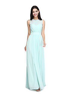 2017 Lanting Bride® Floor-length Chiffon Elegant Bridesmaid Dress - A-line Jewel with Sash