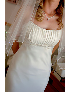 Wedding Veil Two-tier Elbow Veils Beaded Edge Tulle
