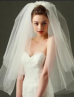 Свадебные вуали Два слоя Короткая фата Фата до локтя Фата до кончиков пальцев Обрезанная кромка Тюль