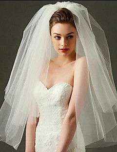 Wedding Veil Two-tier Blusher Veils / Elbow Veils / Fingertip Veils Cut Edge Tulle