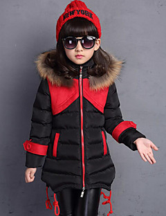 Girl's Casual/Daily Patchwork Down & Cotton Padded,Polyester Winter Black / Brown / Red