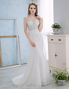 Trumpet / Mermaid Wedding Dress Court Train Scoop Lace / Satin with Appliques / Lace
