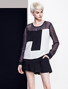 여성 컬러 블럭 라운드 넥 긴 소매 블라우스,심플 캐쥬얼/데일리 블랙 폴리에스테르 봄 / 가을 얇음
