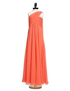 2017 Lanting Bride® Watteau Train Chiffon Junior Bridesmaid Dress A-line One Shoulder with Criss Cross / Ruching