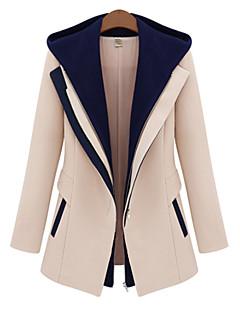 Damen Einfarbig Einfach Lässig/Alltäglich Jacke,Mit Kapuze Herbst Winter Langarm Lang Kunstseide Polyester