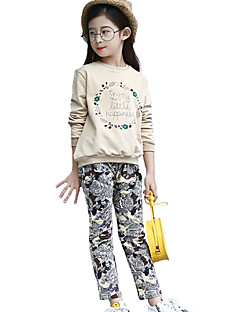 Girl's Casual/Daily / Sports Solid Clothing Set,Cotton Spring / Fall Beige