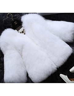 Women's Casual/Daily Simple Fur Coat,Solid Long Sleeve Winter Pink / White / Black / Purple Fox Fur
