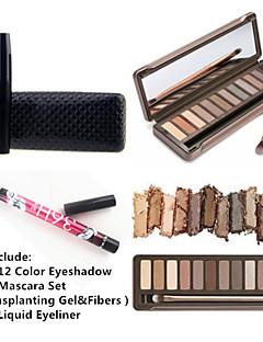 12 Farben Lidschatten wasserdicht Wimpern Mascara Set&2x wasserdichte flüssige Eyeliner
