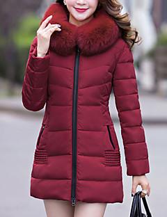 רגיל מעיל פוך מעיל נשים,אחיד פשוטה ליציאה פוליאסטר נוצות ברווז לבנות-שרוול ארוך עם קפוצ'ון אדום / שחור / ירוק