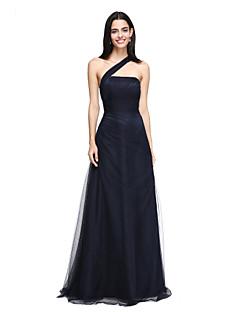 2017 lanting bride® vloer-length tule elegante bruidsmeisje jurk - a-lijn een schouder met kant draperen