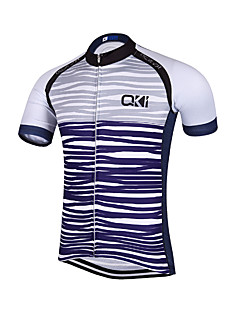 QKI Stripe Cycling Jersey Men's Short Sleeve Bike Breathable / Quick Dry / Anatomic Design / Front Zipper / Reflective Strips