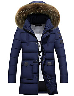 Men's Padded Coat,Simple Plus Size / Casual/Daily Solid-Cotton Cotton Long Sleeve Blue / Red / Black