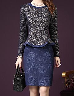 Feminino Conjunto Saia Suits Informal / Tamanhos Grandes Simples Outono,Xadrez Azul / Vermelho Acrílico / Poliéster Decote RedondoManga