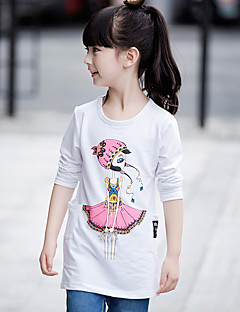 Mädchen T-Shirt-Lässig/Alltäglich Druck Baumwolle Frühling / Herbst Weiß / Grau