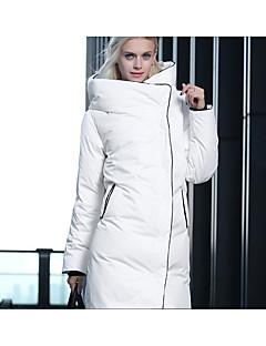 Feminino Longo Casaco Capa,Moda de Rua Sólido Casual-Poliéster Penas de Pato Branco Manga Longa Com Capuz Branco / Preto