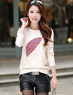 Women's Embroidery Plus Size / Casual/Daily Cute / Street chic Long PulloverPrint Slim All Match Round Neck Long Sleeve