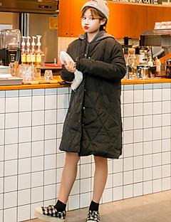 Feminino Casaco Casual Fofo Inverno,Sólido Preto / Cinza Algodão Com Capuz-Manga Longa Média