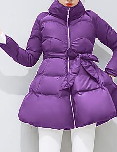Damen Gefüttert Mantel,Lang Einfach / Niedlich / Street Schick Ausgehen / Lässig/Alltäglich Solide-Baumwolle Weiße Entendaunen LangarmRot